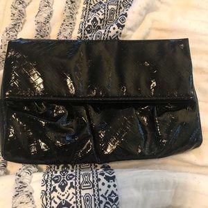 Glossy black clutch